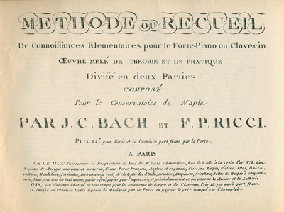 Title page from Methode ou Recueil